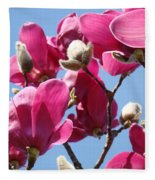 Landscape Pink Magnolia Flowers 46 Blue Sky Magnolia Tree Fleece Blanket