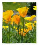 Landscape Poppy Flowers 5 Orange Poppies Hillside Meadow Art Fleece Blanket