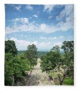 Landscape View From Preah Vihear Mountain In North Cambodia Fleece Blanket