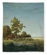 Landscape With A Clump Of Trees Fleece Blanket