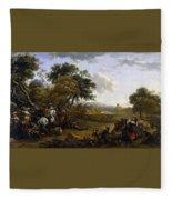 Landscape With A Hunting Party Nicolaes Claes Pietersz Berchem Fleece Blanket