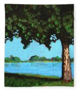 Landscape With A Lake And Tree Fleece Blanket