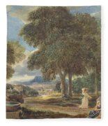 Landscape With A Man Washing His Feet At A Fountain Fleece Blanket