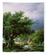 Landscape With A Mill Fleece Blanket