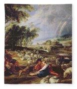 Landscape With A Rainbow Fleece Blanket