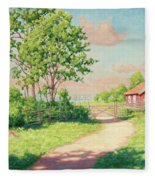 Landscape With A Red Cottage Fleece Blanket