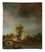 Landscape With A Stone Bridge Fleece Blanket