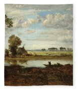 Landscape With Boatman Fleece Blanket