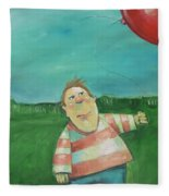 Landscape With Boy And Red Balloon Fleece Blanket