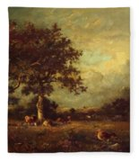 Landscape With Cows 1870 Fleece Blanket