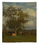Landscape With Cows Fleece Blanket
