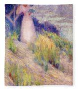 Landscape With Figure In Pink Fleece Blanket