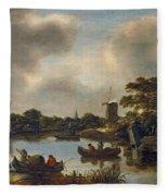 Landscape With Fishers Fleece Blanket