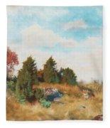 Landscape With Fox Fleece Blanket