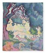 Landscape With Goats Fleece Blanket