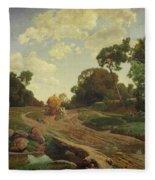 Landscape With Haywagon Fleece Blanket