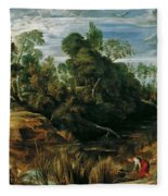 Landscape With Milkmaids And Cows Fleece Blanket