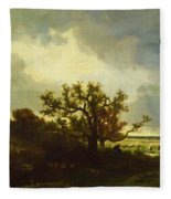 Landscape With Oaktree Fleece Blanket
