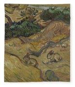 Landscape With Rabbits Saint Remy De Provence December 1889 Vincent Van Gogh 1853  1890 Fleece Blanket