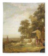 Landscape With Shepherds And Shepherdesses Near A Well Fleece Blanket