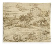 Landscape With St. Theodore Overcoming The Dragon Fleece Blanket