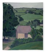 Landscape With Thatched Barn Fleece Blanket