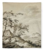Landscape With Three Ramblers Fleece Blanket