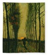 Lane Of Poplars At Sunset Fleece Blanket