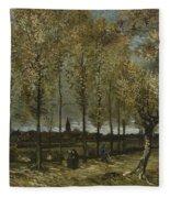 Lane With Poplars Near Nuenen Fleece Blanket
