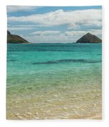 Lanikai Beach 4 Pano - Oahu Hawaii Fleece Blanket