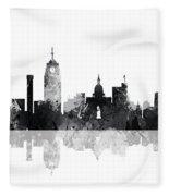 Lansing Michigan Skylines Fleece Blanket