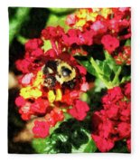 Lantanas And The Bee Fleece Blanket