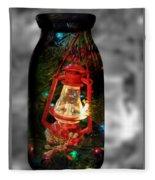 Lantern In Glass Jar Fleece Blanket