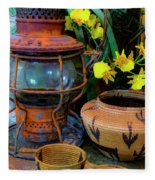 Lantern With Baskets Fleece Blanket
