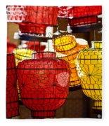 Lanterns In Market Place Fleece Blanket