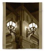 Lanterns - Night In The City - In Sepia Fleece Blanket