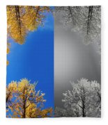 Larches Color To Black And White Reflection Fleece Blanket