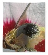 Large Bumble Bee In Flower Fleece Blanket