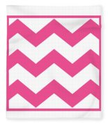 Large Chevron With Border In French Pink Fleece Blanket