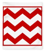Large Chevron With Border In Red Fleece Blanket
