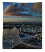 Large Icebergs At Dawn #4 - Iceland Fleece Blanket