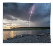Large Lighting From Dark Clouds During Sunset At Large Lake Fleece Blanket