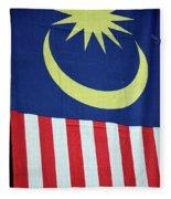 Large Malaysia Flag On Doorway Georgetown Penang Malaysia Fleece Blanket