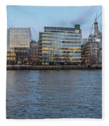 Large Panorama Of Downtown London Betwen The London Bridge And T Fleece Blanket