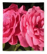 Large Pink Roses Fleece Blanket