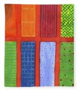 Large Rectangle Fields Between Red Grid  Fleece Blanket
