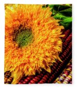 Large Sunflower On Indian Corn Fleece Blanket