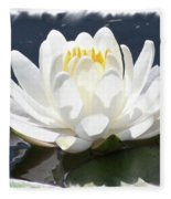 Large Water Lily With White Border Fleece Blanket
