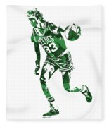 Larry Bird Boston Celtics Pixel Art 10 Fleece Blanket