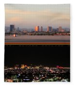 Las Vegas Skyline At Dawn And At Night Fleece Blanket